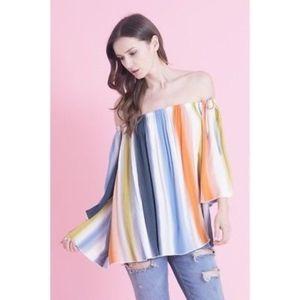 d60a1395c1d Tops | Off Shoulder Rainbow Top In Stripe New Blue Mix | Poshmark